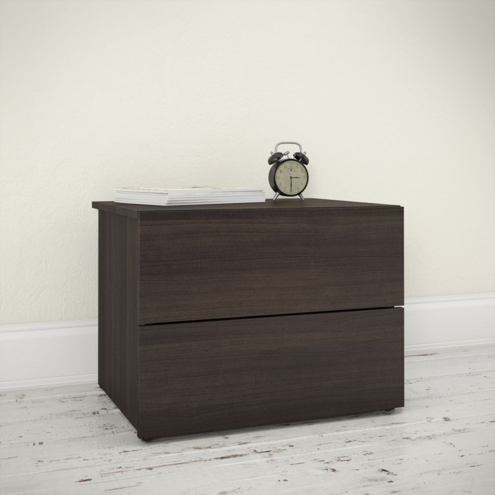 Nexera 341130 2-Drawer Jet Set Night Stand, Ebony