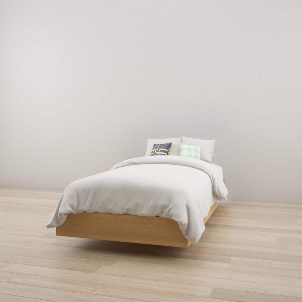 343905 Twin Size Platform Bed, Natural Maple