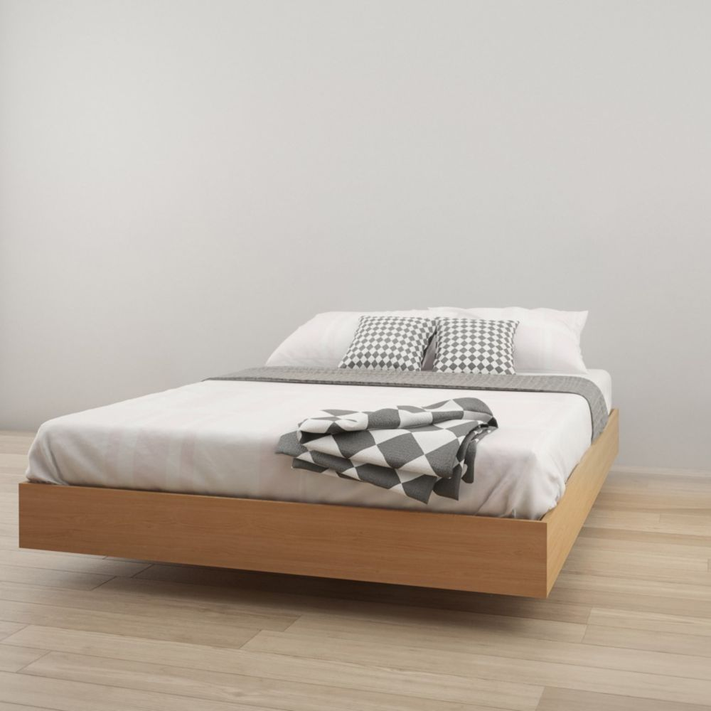 346005 Queen Size Platform Bed, Natural Maple