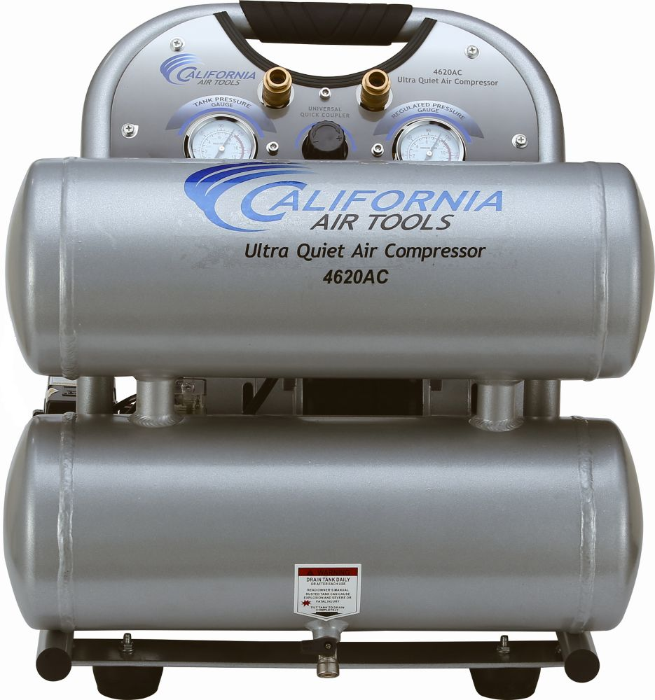 4620AC Ultra Quiet and Oil-Free 2.0 Hp, 15.1 L Aluminum Twin Tank Electric Portable Air Compress