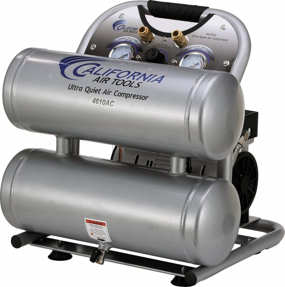 4610AC Ultra Quiet  & Oil-Free  1.0 Hp, 4.6 Gal. Aluminum Twin Tank Air Compressor