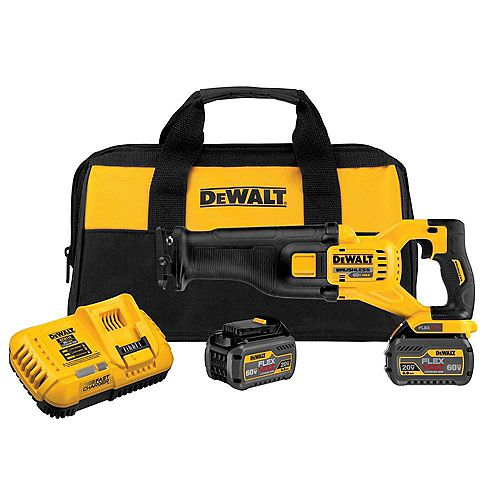 DEWALT FLEXVOLT 60V MAX Li-Ion Cordless Brushless Reciprocating Saw w/ (2) Batteries 2Ah, Charger and Contractor Bag