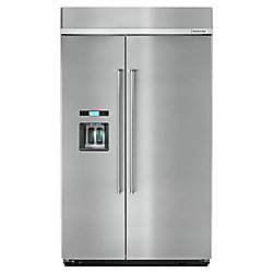 KitchenAid 48-inch W 29.5 cu. ft. Built-In Side by Side Refrigerator in Stainless Steel - ENERGY STAR®