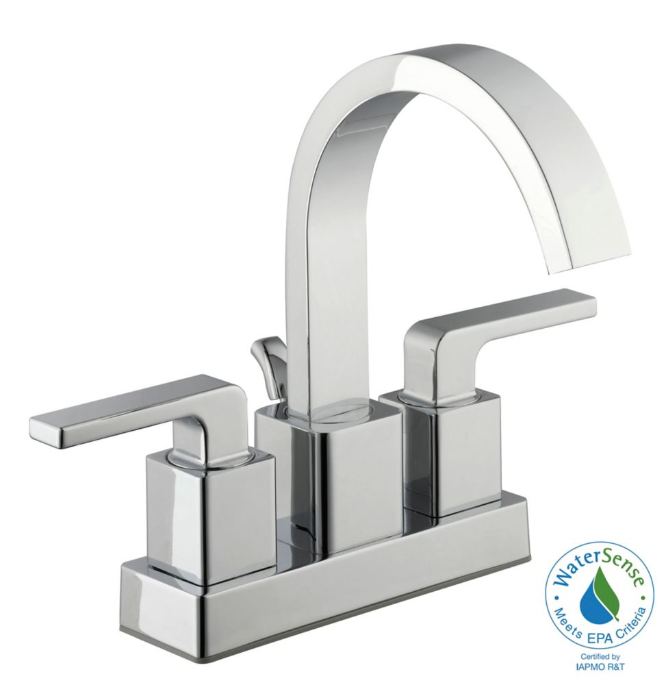 GLACIER BAY 4-Inch Centerset 2-Handle Mid Arc Bathroom Faucet with Lever Handles in Chrome