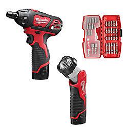Milwaukee Tool M12 Tournevis hexagonal 12 V sans fil au lithium-ion sans fil 1/4 de pouce / Kit de lampe de travail à DEL W/(2) 1,5Ah Batteries, jeu d'embouts et sacoche