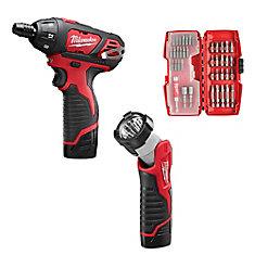 Milwaukee M12 Screwdriver Kit With Bonus Light And Screwdriver
