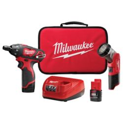Milwaukee Tool M12 12V Screwdriver Kit W/ (2) Batteries and Bonus Light