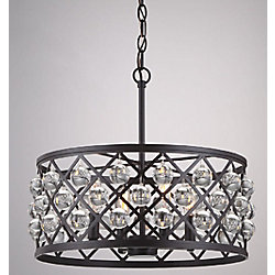 Home Decorators Collection Pennington Crest 4-Light 60W Antique Bronze Pendant with Crystal Sphere Accents