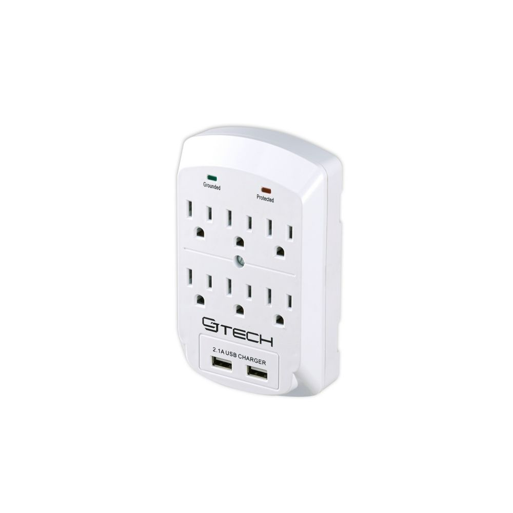 6 Outlet 2 USB 2.1 Amp Wall Tap (300 Joules)