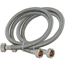Eastman 3/4  Inch FHT x 3/4  Inch FHT Washing Machine Hose - Pair