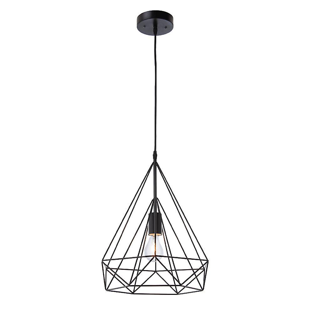 Izaro 1-Light 60W Black Pendant with Cone-Shaped Metal Cage Shade