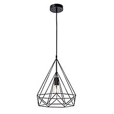 Izaro 1-Light 60W Black Pendant with Cone-Shaped Metal Cage Shade
