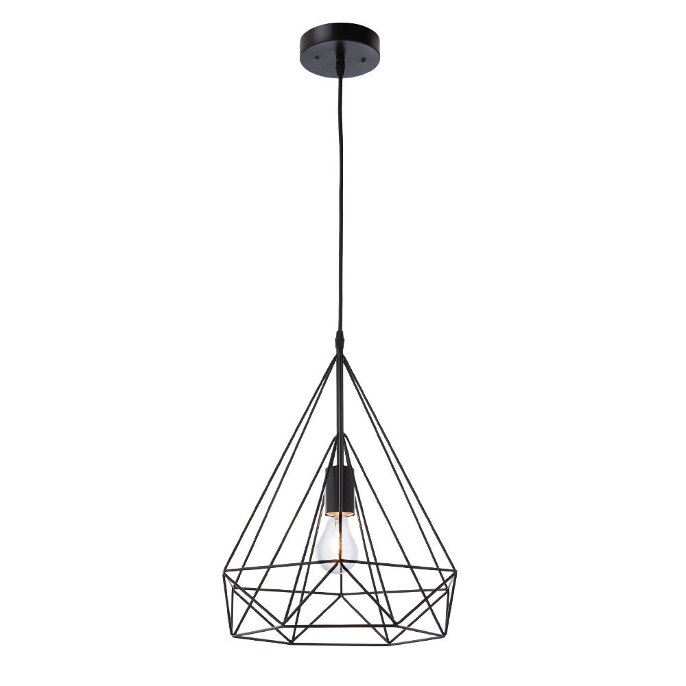 Home Decorators Collection Izaro 1-Light 60W Black Pendant with Cone-Shaped Metal Cage Shade