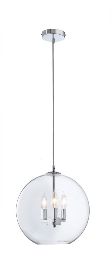 Home Decorators Collection Rinestra 3-Light 40W Chrome Globe Pendant with Clear Glass Shade