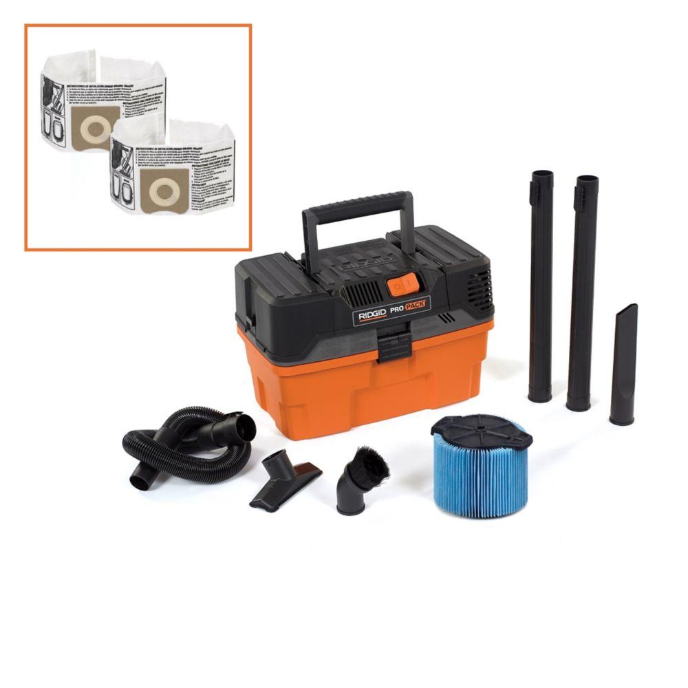 17 L (4.5 Gal.) 5 Peak HP Propack Portable Wet/Dry Vacuum & 2 Bonus Dust Bags