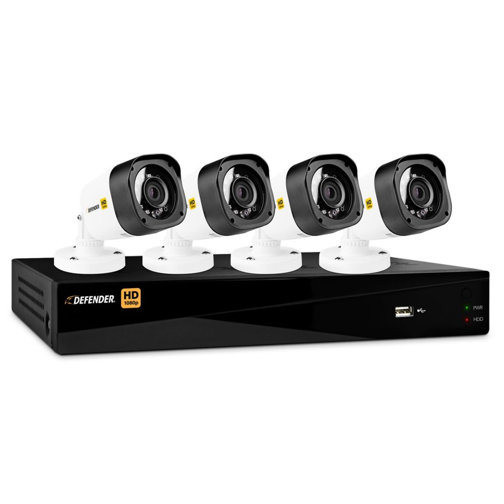 Security cameras systems the home depot canada 4 channel hd 1080p 1tb dvr security system and 4 bullet cameras with mobile viewing solutioingenieria Image collections