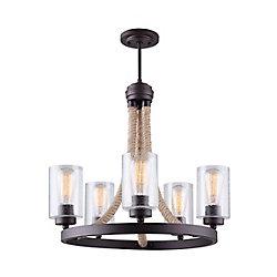 Canarm Ltd Lustre à 5 lumières Delmar avec verre granulé, bronze huilé