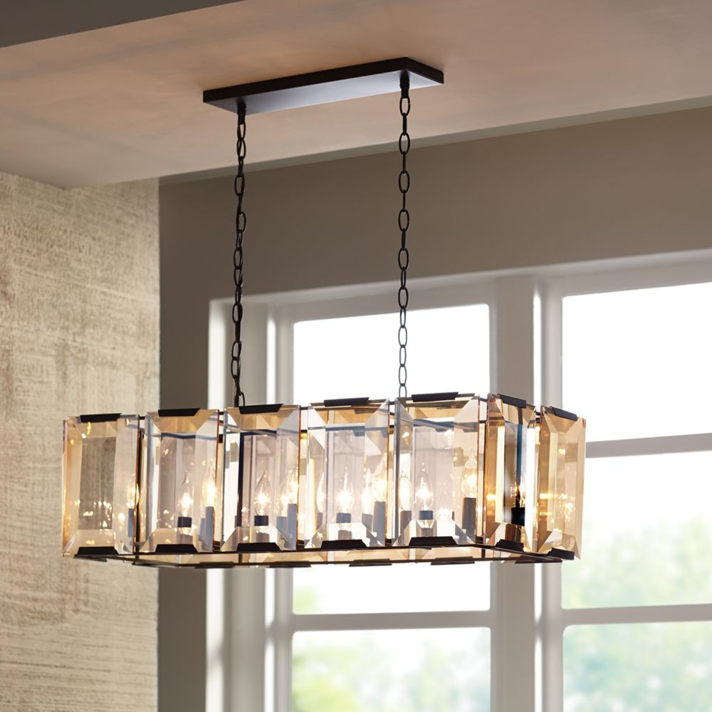 Home Decorators Collection 10-Light Ceiling Light Pendant in Satin Black with Amber Glass Accents