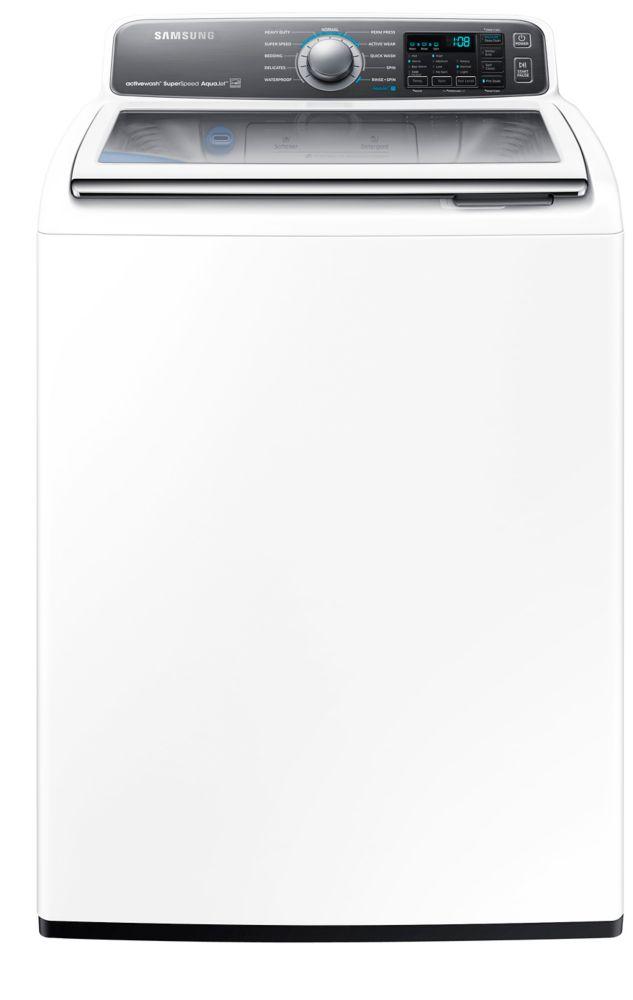 Laveuse à chargement vertical blanche de 5,5pi. cube - WA48J7770AW