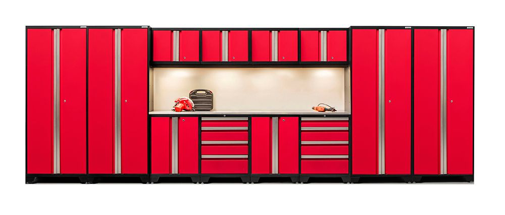 NewAge Products Bold Series 14-Piece Cabinet Set in Red with Stainless Steel Worktop