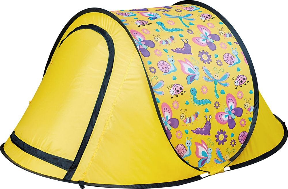 thd kids pop up backyard camping sleepover tent in yellow the home depot canada. Black Bedroom Furniture Sets. Home Design Ideas