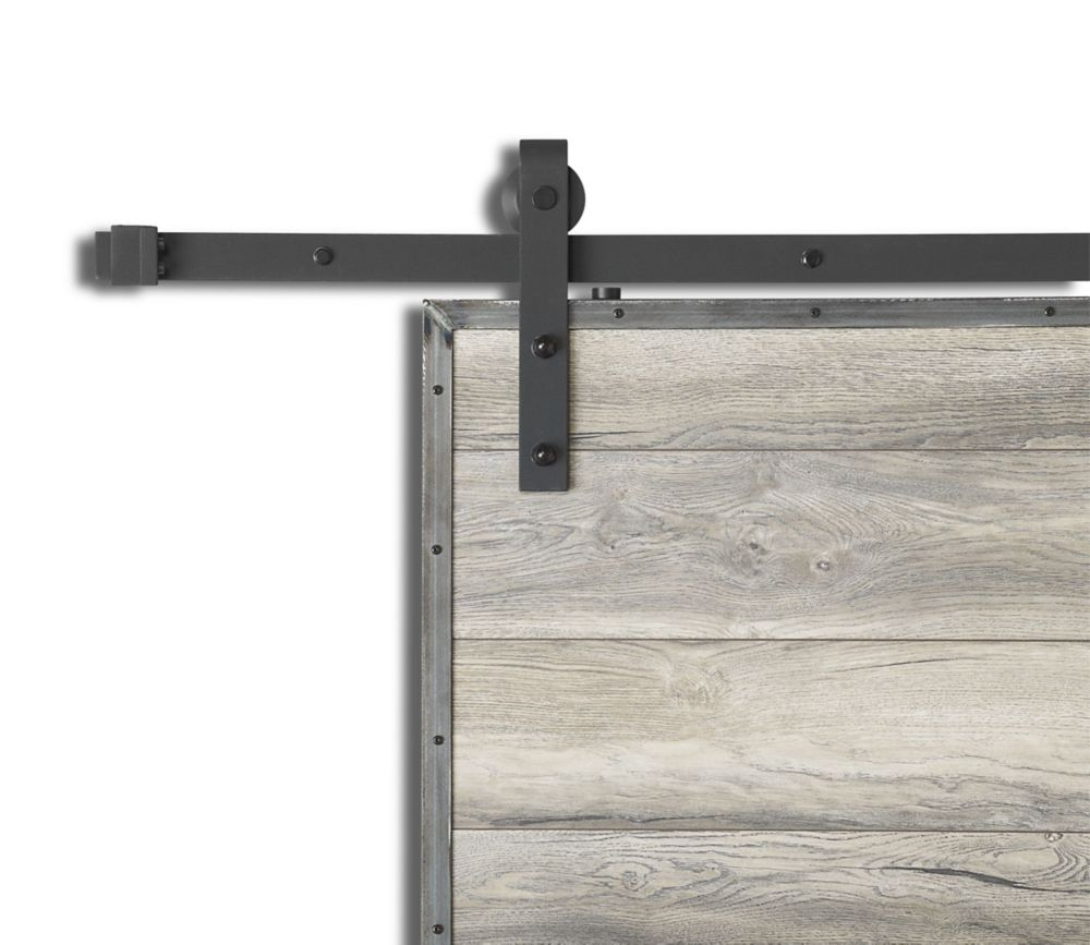 Colonial Elegance Barn Rail System Black Steel 96 Inch