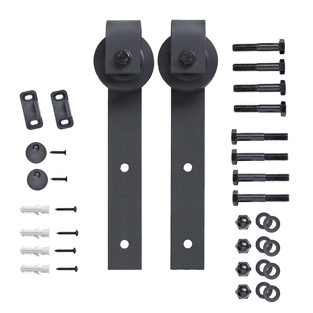 2 Black Wheels Kit For Barn Rail