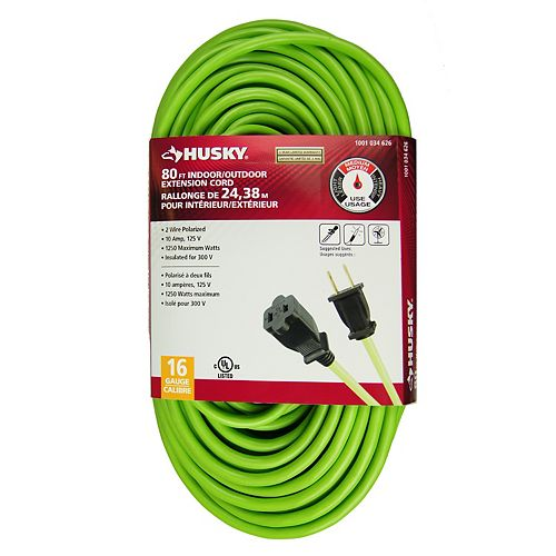 HUSKY 80 Feet Indoor/Outdoor Neon Green Extension Cord