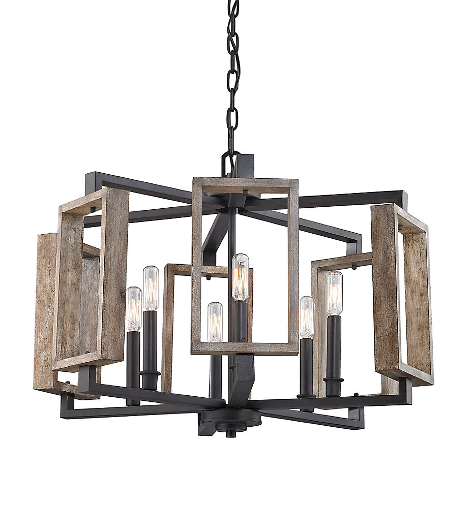 6-Light Aged Bronze Pendant with Wood Accents