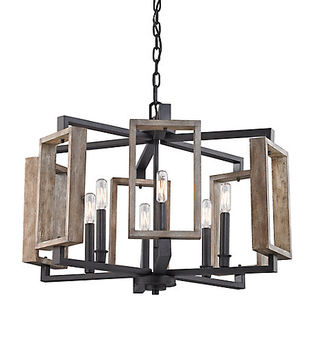 Home decorators collection 6 light aged bronze pendant with wood accents the home depot canada