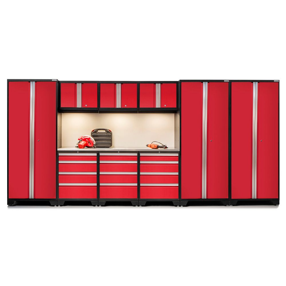 NewAge Products Bold Series 10 PC Set in Red with Bamboo Worktop