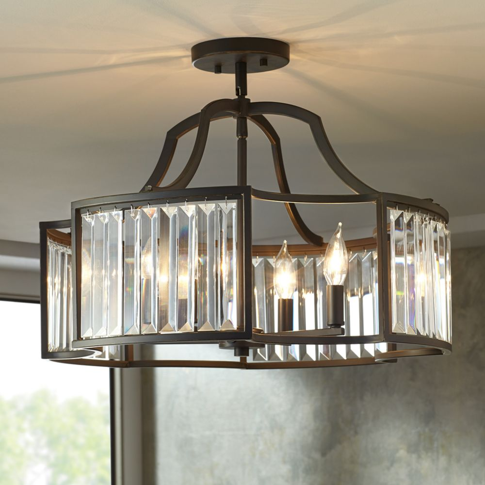 Home Decorators Collection 4-Light Ceiling Light Fixture Pendant in Oil-Rubbed Bronze witt Clear Glass Accents