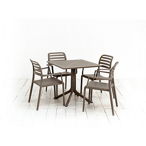 Clip 31.5 x 31.5-inch Patio Dining Table with 4 Costa Armchairs in Tortora
