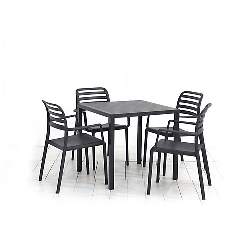 Cube 31.5 x 31.5-inch Patio Dining Table with 4 Costa Armchairs in Anthracite