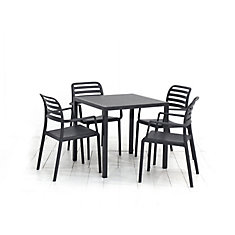 La table de salle à manger Nardi Cube (anthracite) et les 4 fauteuils Costa (anthracite)