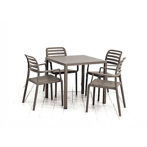 Cube 31.5 x 31.5-inch Patio Dining Table with 4 Costa Armchairs in Tortora