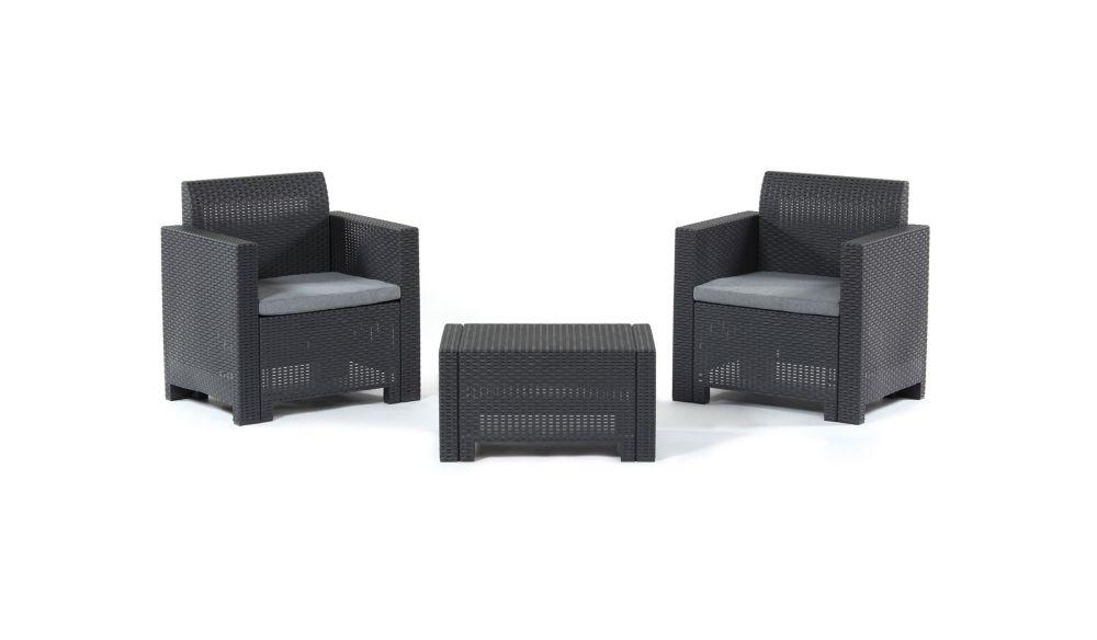 BICA Nebraska Terrace Set (Anthracite with Grey seat cushions)