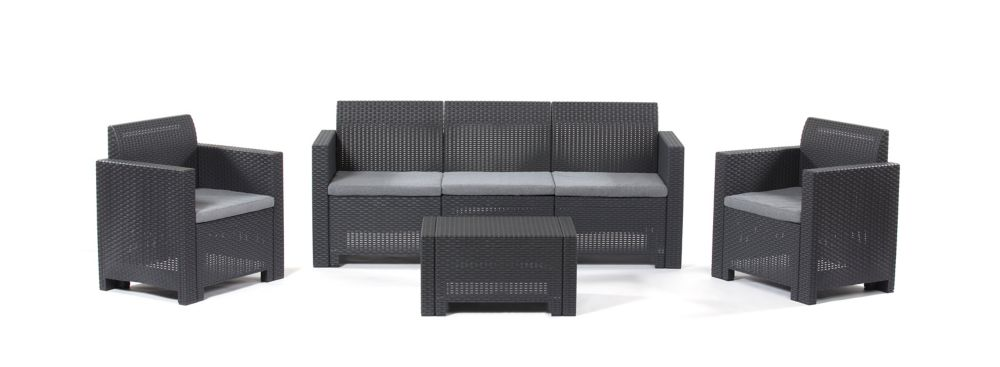 BICA Nebraska Couch/Armchair Set (Anthracite with Grey seat cushions)