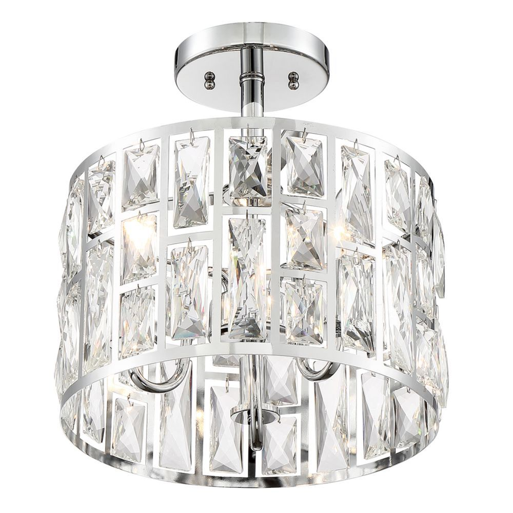 3 Light Chrome Semi Flushmount Ceiling