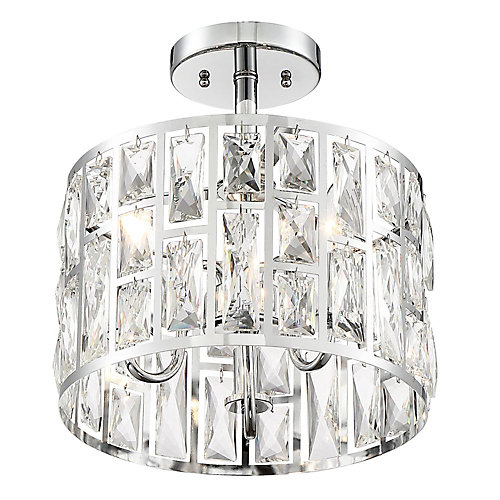 3-Light Chrome Semi-Flushmount Ceiling Light with Crystal Glass Shade