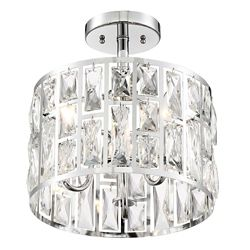 Home Decorators Collection 3-Light Chrome Semi-Flushmount Ceiling Light with Crystal Glass Shade