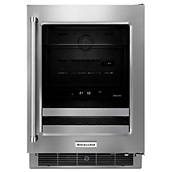 KitchenAid 24 Inch Stainless Steel Beverage Center with SatinGlide Metal-Front Racks