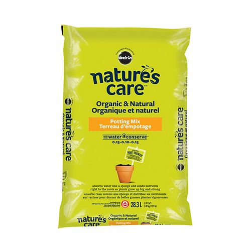 Miracle-Gro Nature's Care Organic and Natural Potting Mix with Water Conserve(TM) 0.15-0.10-0.15, 28.3L