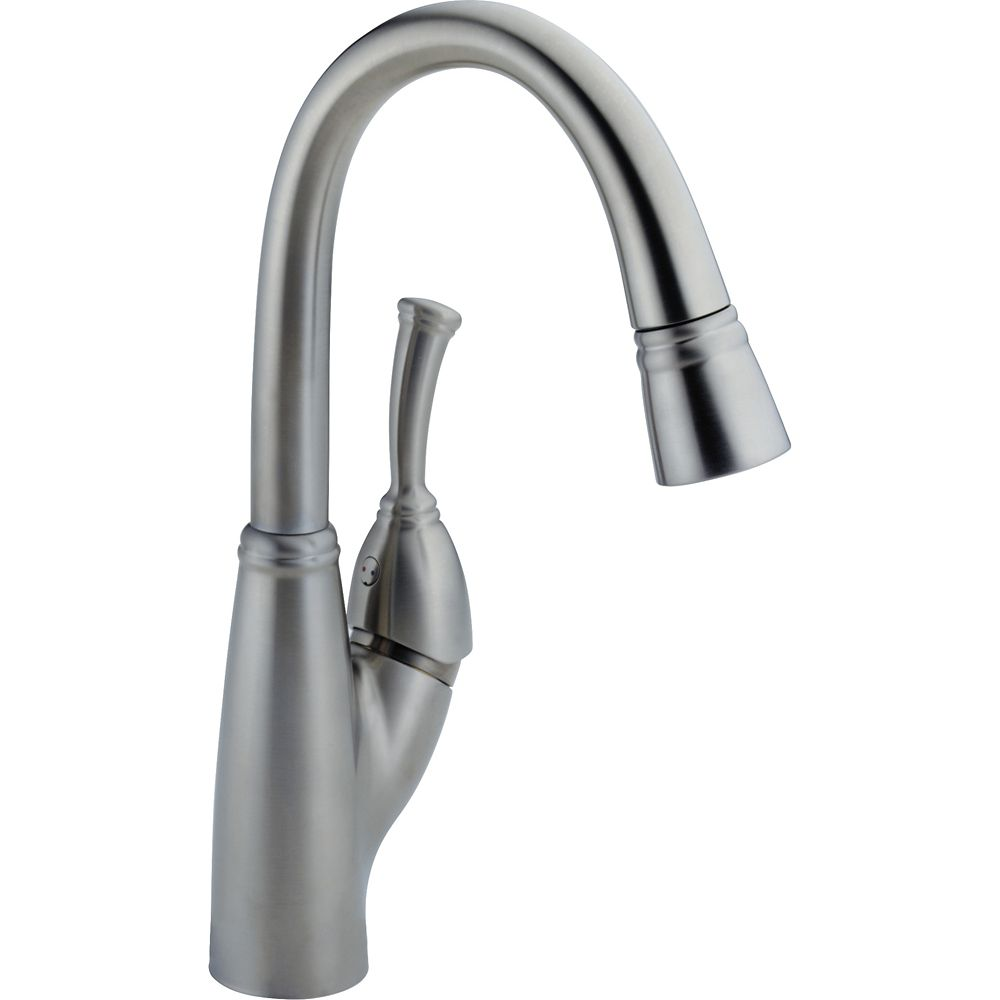 Allora Single Handle Pull-Down Bar/Prep Faucet, Arctic Stainless