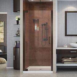DreamLine Elegance 32-1/4-inch to 34-1/4-inch x 72-inch Semi-Frameless Pivot Shower Door in Oil Rubbed Bronze