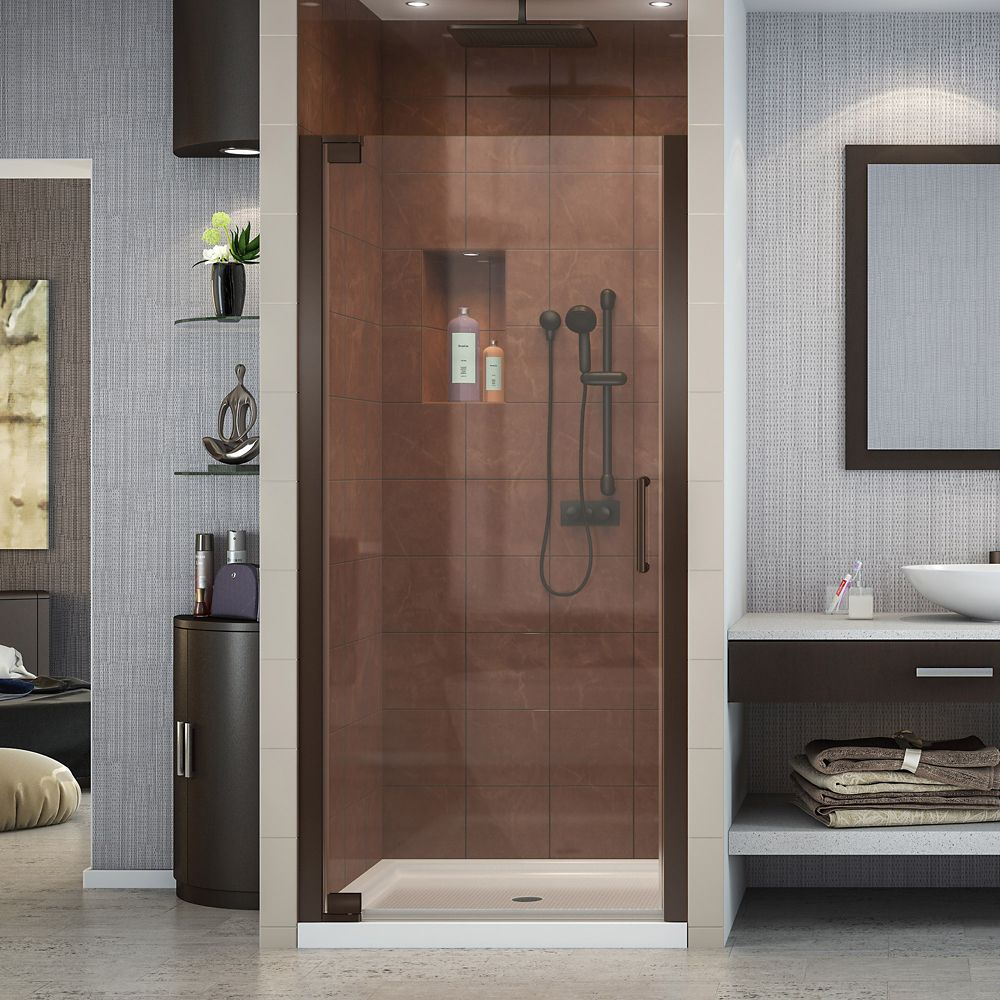 DreamLine Elegance 35-3/4-inch to 37-3/4-inch x 72-inch Semi-Frameless Pivot Shower Door in Oil Rubbed Bronze