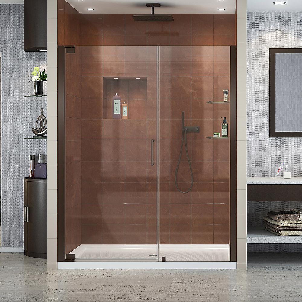 Elegance 51-inch to 53-inch x 72-inch Semi-Frameless Pivot Shower Door in Oil Rubbed Bronze