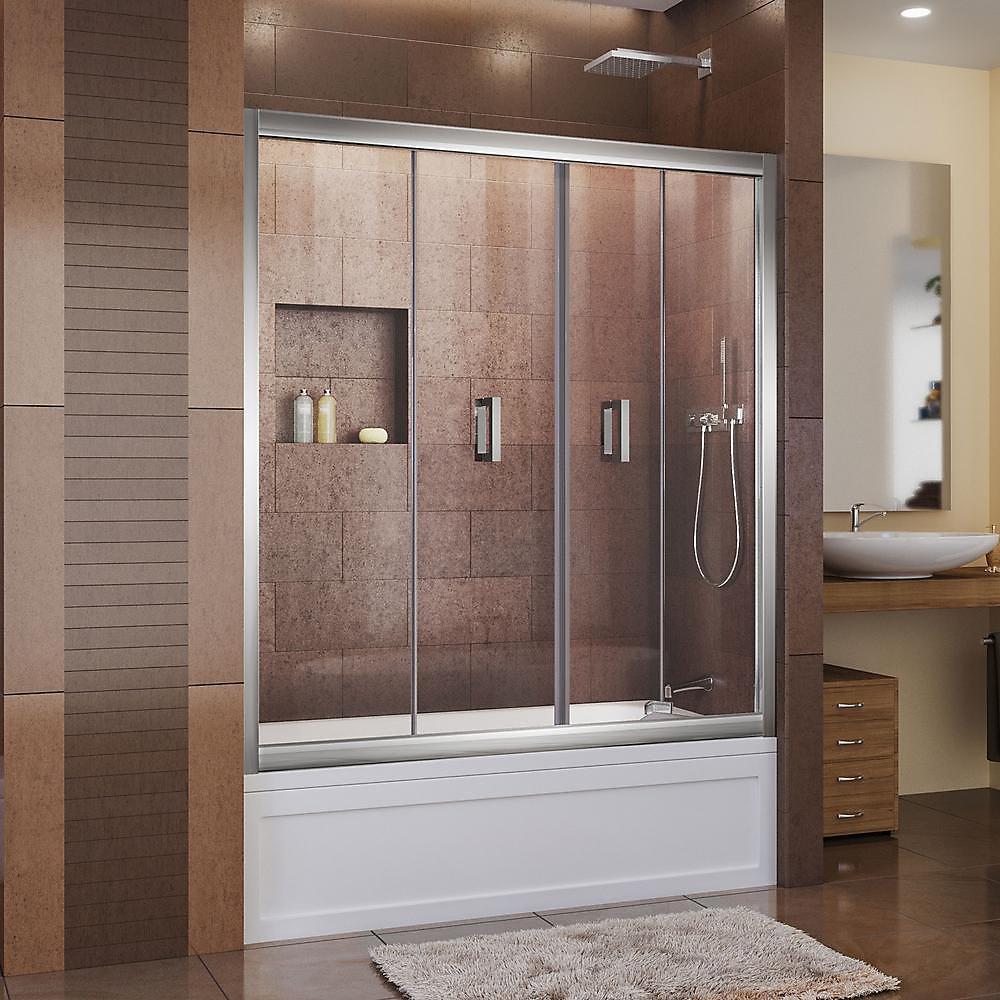 Butterfly 57-1/2 to 59-inch x 58-inch Framed Bi-Fold Pivot Tub Door in Chrome