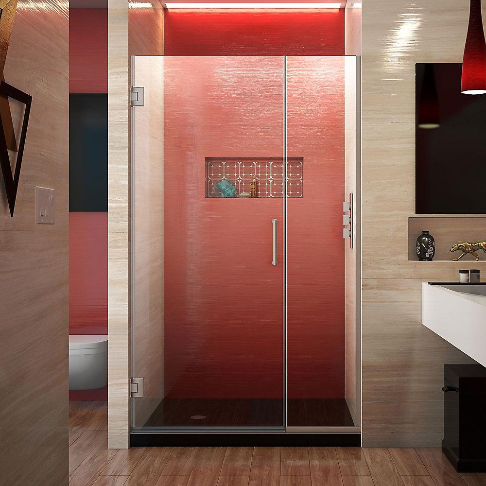 DreamLine Unidoor Plus 105 cm x 183 cm Porte de douche Articulée Sans cadre, fini Nickel Brossé