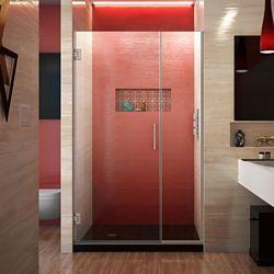 DreamLine DreamLine Unidoor Plus 107 cm x 183 cm Porte de douche Articulée Sans cadre, fini Nickel Brossé